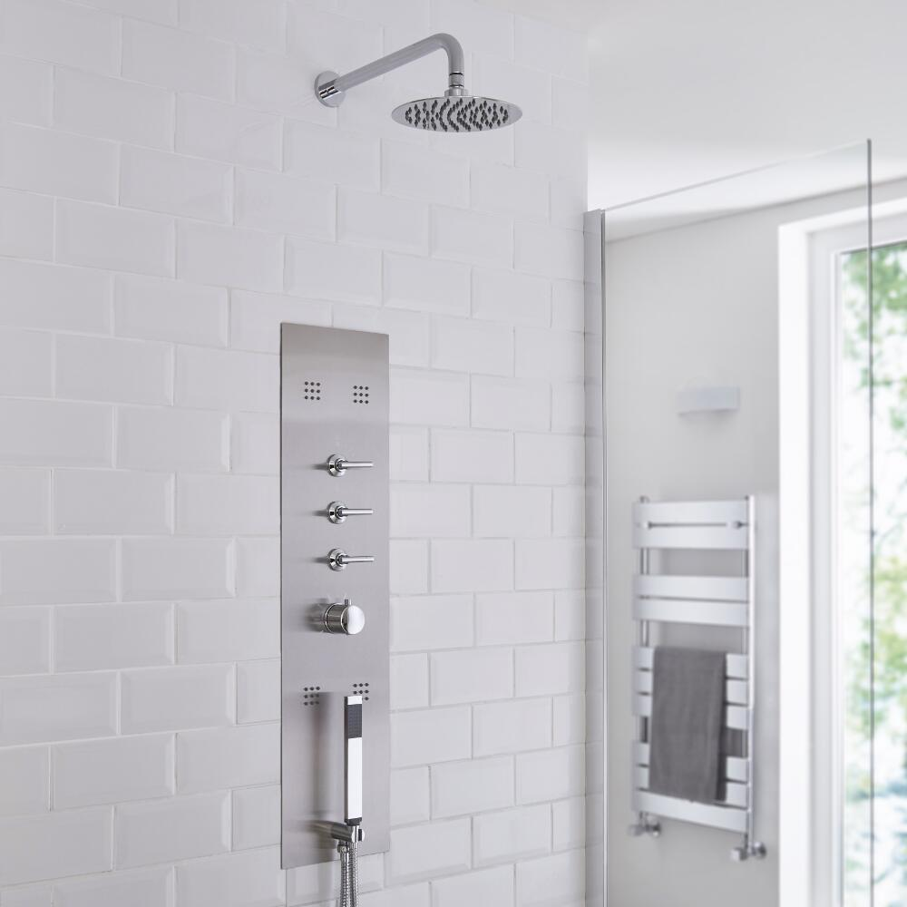 Milano Lisse Concealed Shower Tower with 200mm Round Head and Wall Arm
