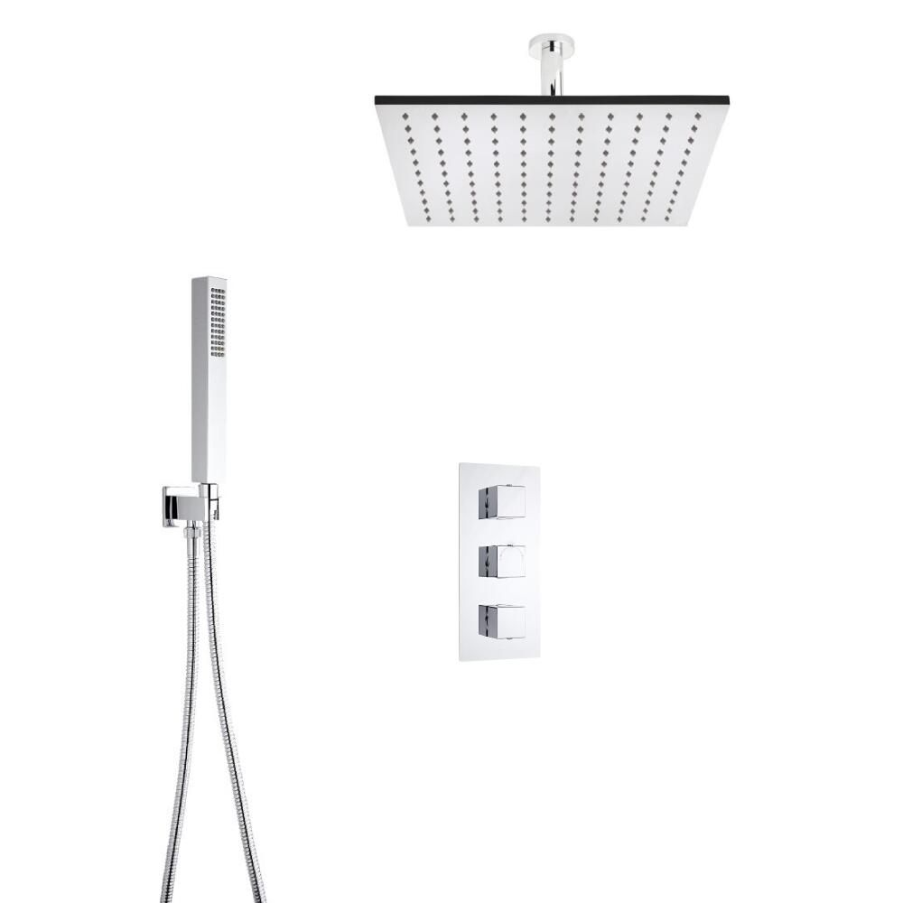 Milano Square Triple Thermostatic Shower Valve With 400mm Shower ...
