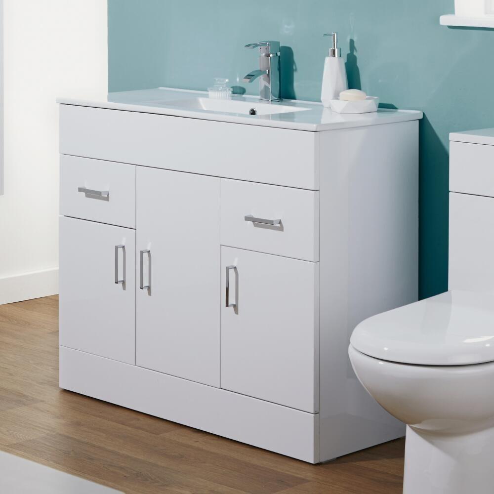 Milano minimalist 1000mm white gloss bathroom vanity unit - White gloss bathroom vanity unit ...