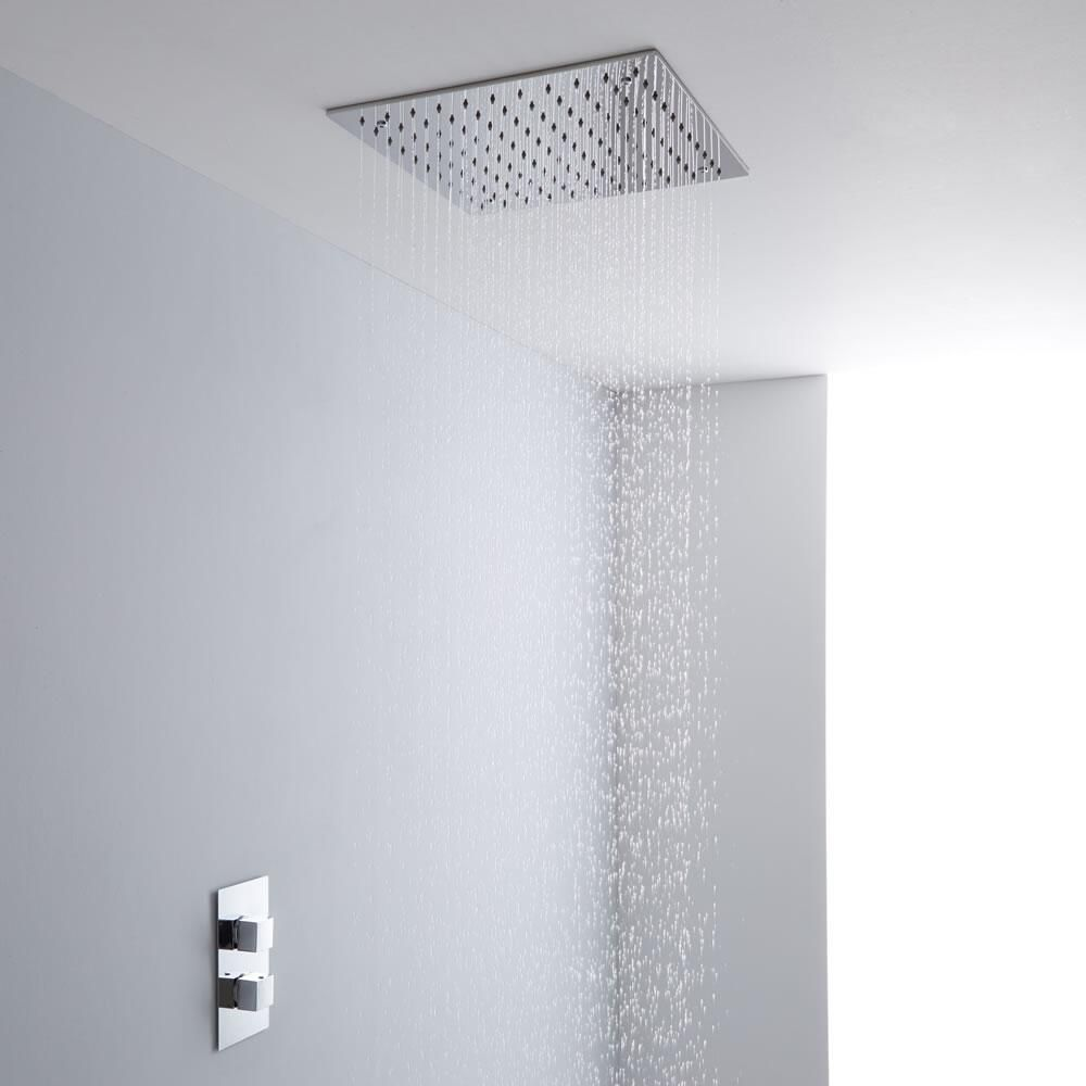 Milano 400mm Large Square Ceiling Tile Fixed Head Thermostatic