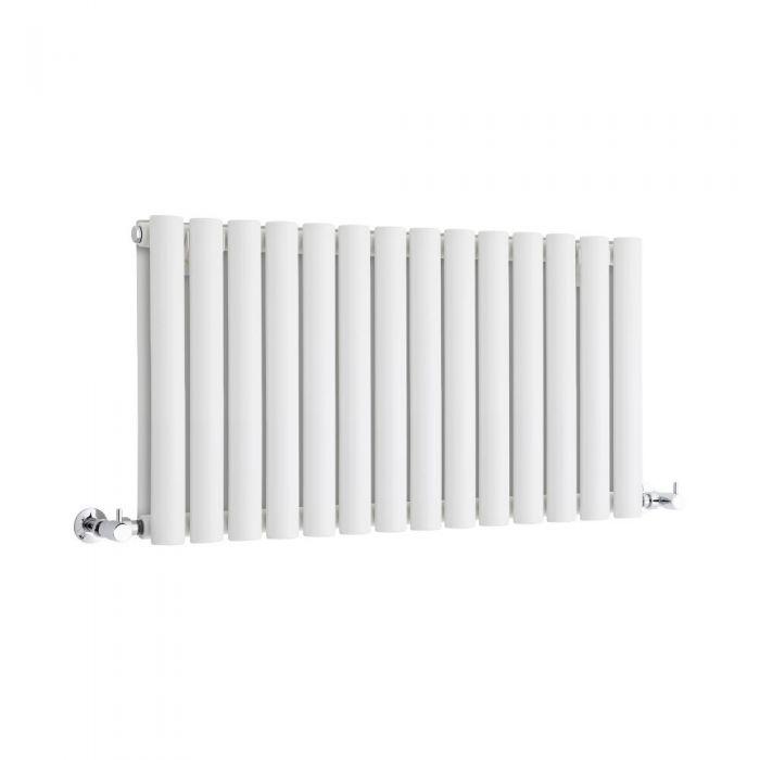 Milano Aruba - White Horizontal Designer Radiator 400mm x 834mm (Double Panel)