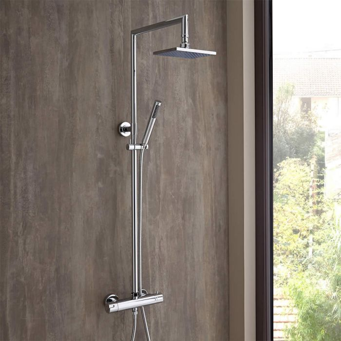 Milano Thermostatic Bar Shower Valve & Rigid Riser Kit