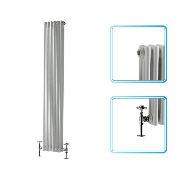 Milano Windsor - Traditional 6 x 2 Column Radiator Cast Iron Style White 1500mm x 290mm