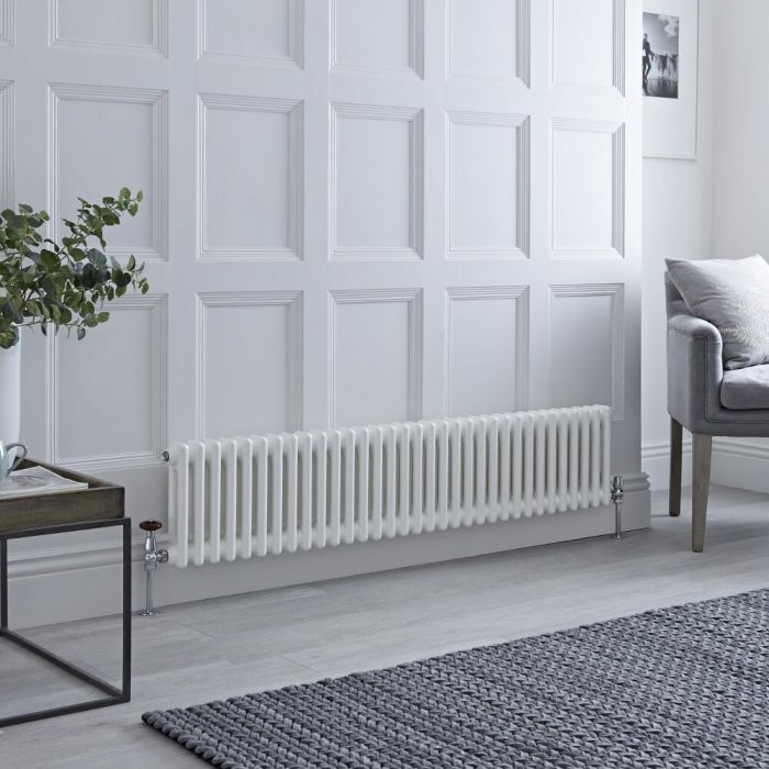 Milano Windsor - Traditional 33 x 2 Column Radiator Cast Iron Style White 300mm x 1500mm