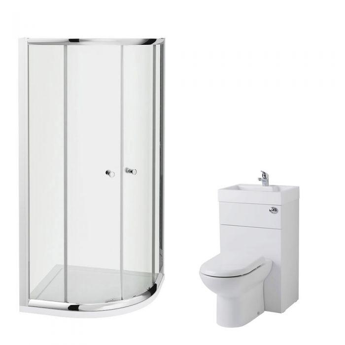 Milano 800mm Quadrant En Suite Set With Combination Toilet & Basin Unit & Tap & Waste