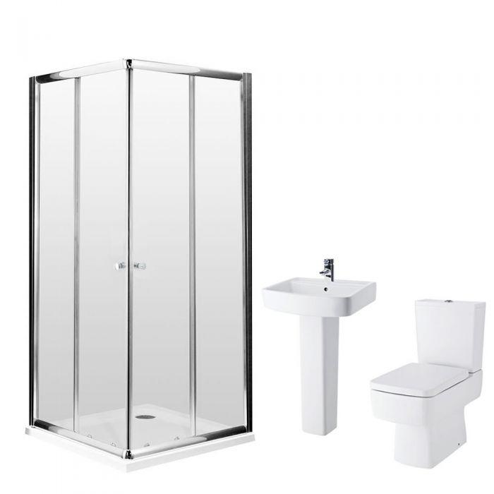 Milano 900mm Bliss Corner Entry En Suite Bathroom Set With & Tap & Waste
