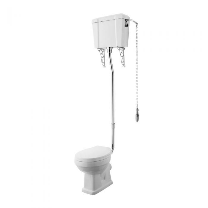 Premier Carlton Toilet pan with Wood Seat & High Level Cistern
