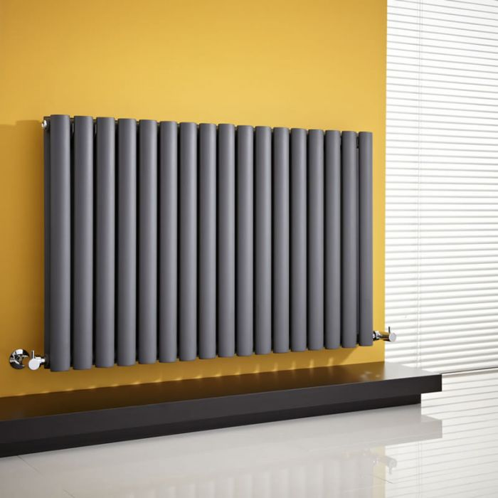 Milano Aruba - Anthracite Horizontal Designer Radiator 635mm x 1000mm (Double Panel)