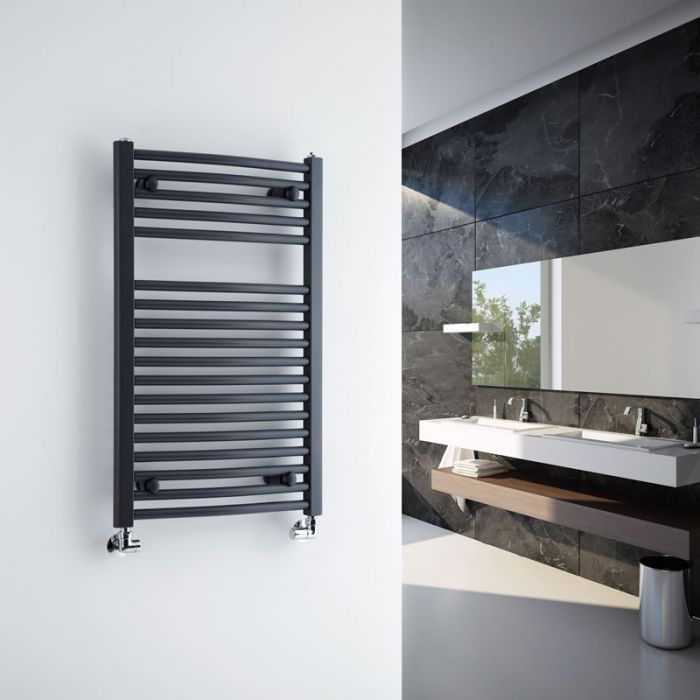 Milano Brook - Anthracite Curved Bathroom Heated Towel Radiator Rail 800mm x 500mm