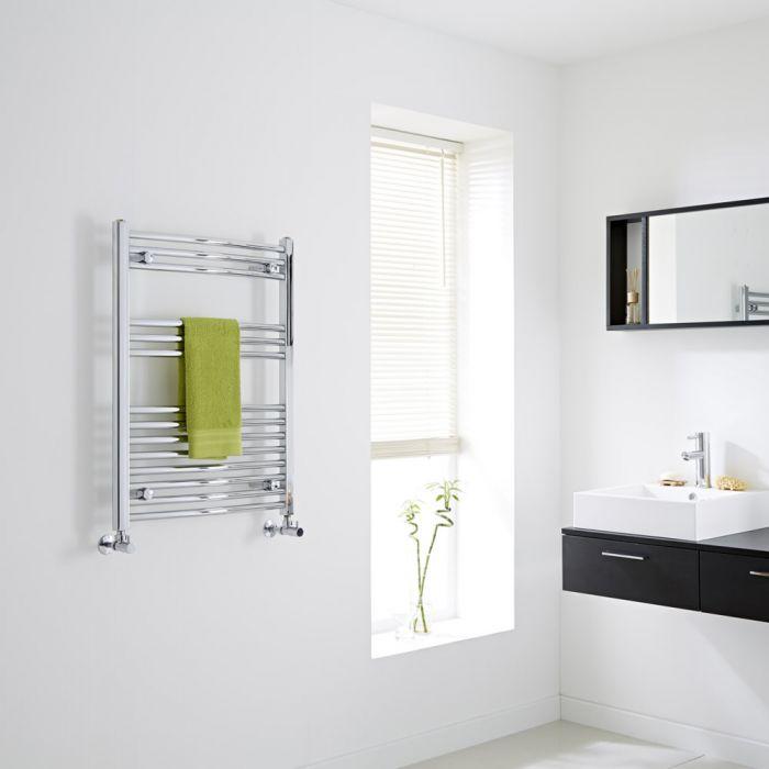 Milano Curved Chrome Heated Towel Rail 800mm x 600mm
