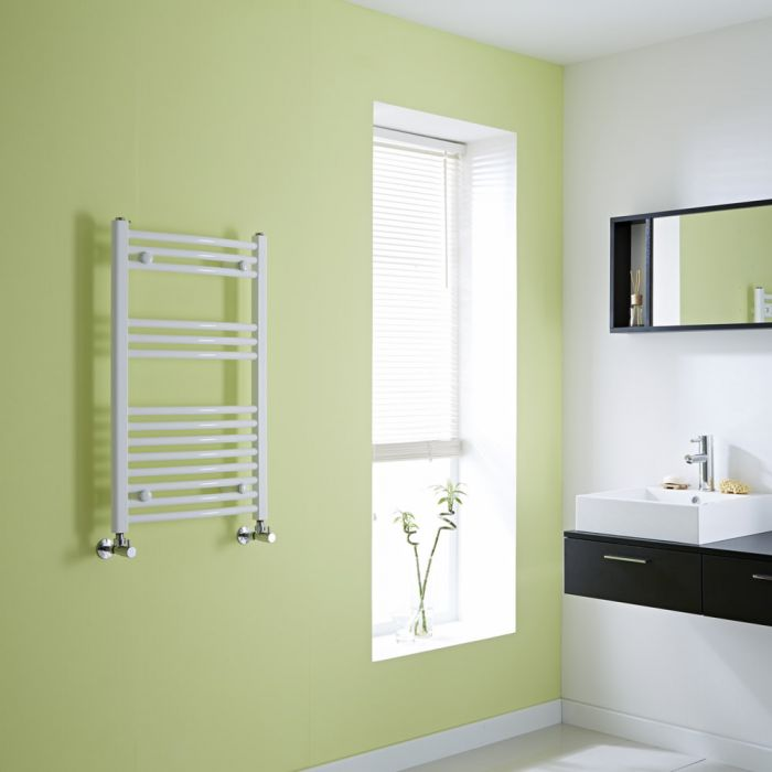 Milano Curved White Heated Towel Rail 800mm x 500mm