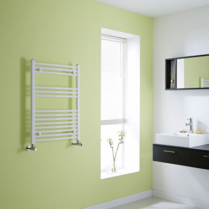 Milano Curved White Heated Towel Rail 800mm x 600mm