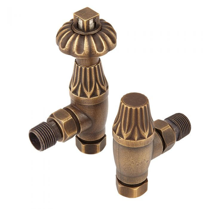 Milano Windsor Antique Style Brass Thermostatic Angled Radiator Valves (Pair)