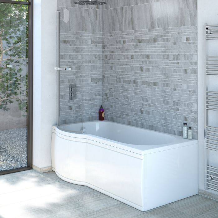 Milano Concept 1675 P Shape Shower Bath - Left Hand