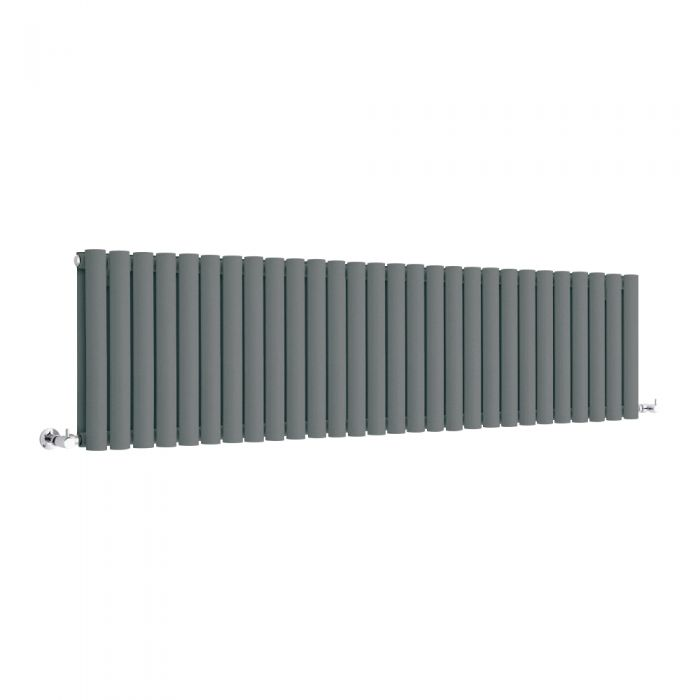 Milano Anthracite Horizontal Designer Radiator 400mm x 1647mm (Double Panel)