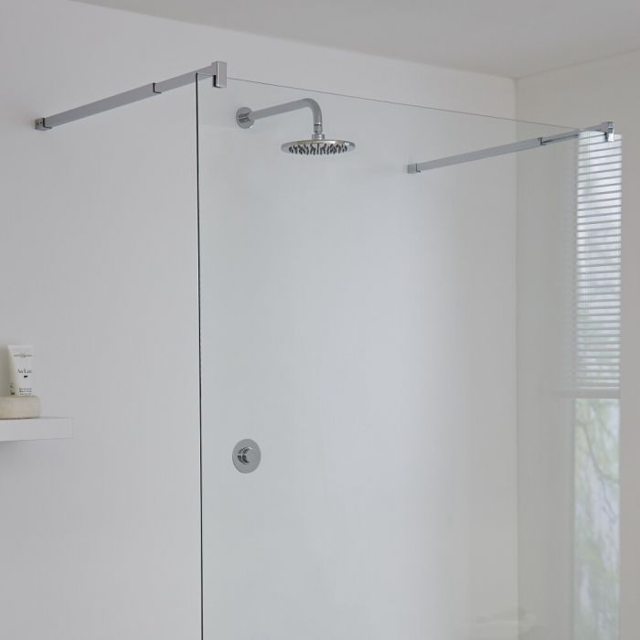 Milano Vis One Outlet Digital Thermostatic Shower with Round Wall Mounted Shower Head 200mm