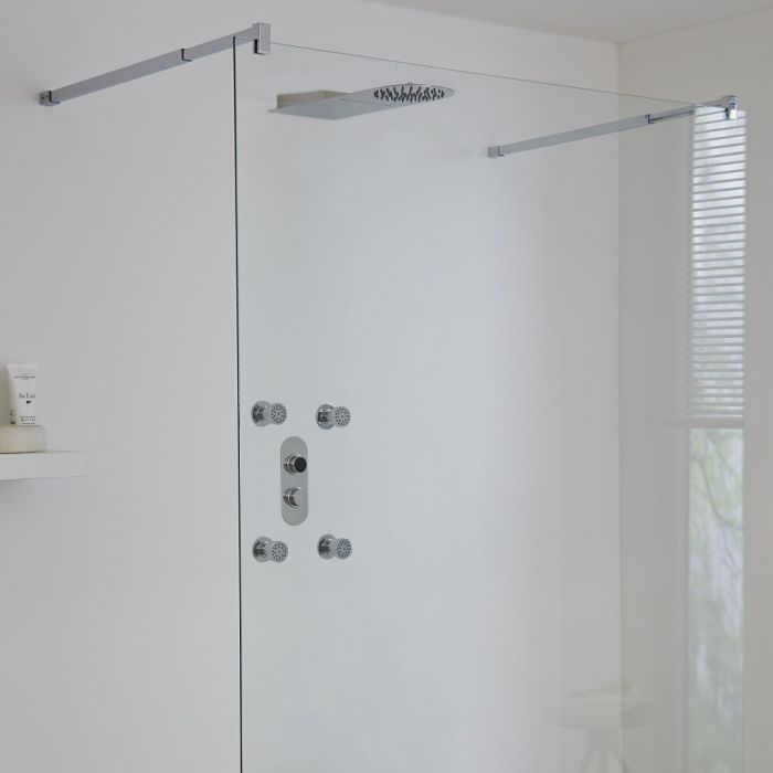 Milano Vis Three Outlet Digital Shower with Waterblade Shower Head and Body Jets