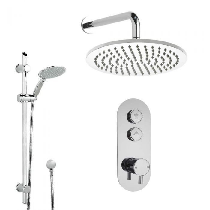 Milano Orta - 2 Outlet Push Button Shower Valve with Slide Rail Kit and 300mm Wall Mounted Shower Head