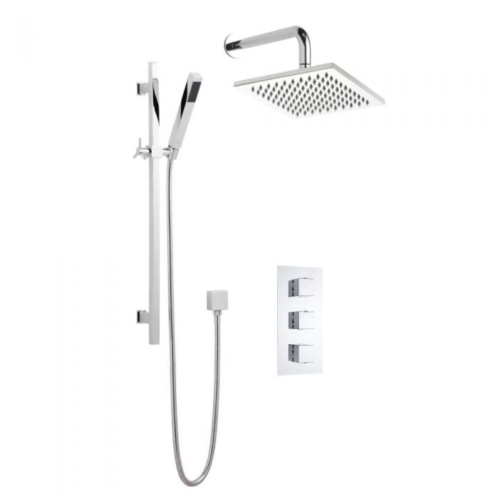 Milano Square Triple Thermostatic Shower Valve With 200mm Shower ...
