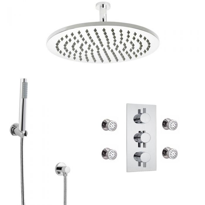 Milano Round Triple Diverter Thermostatic Valve, 300mm Head, Ceiling Arm, Handset and Body Jets