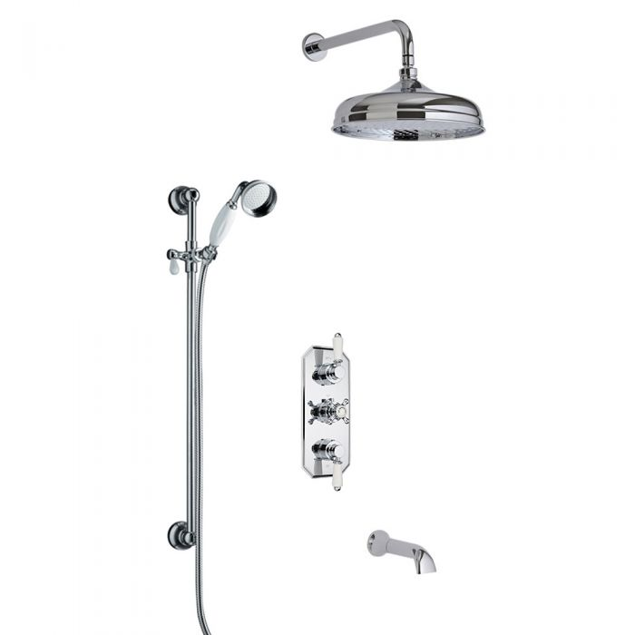 Milano Traditional Triple Diverter Valve, 150mm Head, Wall Arm, Slide Rail and Spout