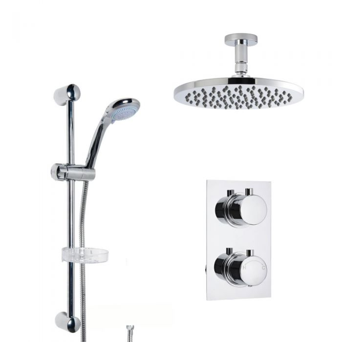 Milano Round Concealed Thermostatic Shower with Ceiling Mounted Head and Slide Rail Kit