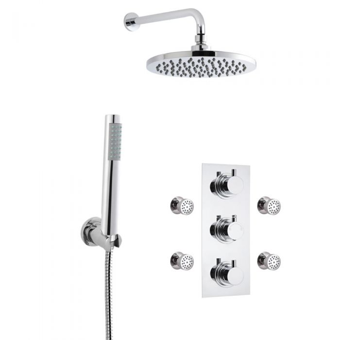 Milano Round Thermostatic Shower with Wall Mounted Head, Hand Shower and Body Jets