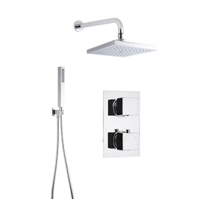 Milano Square Concealed Thermostatic Twin Shower with Head, Wall Arm and Hand Shower