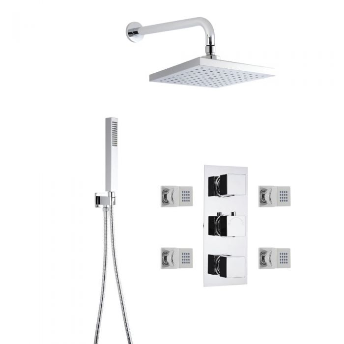 Milano Square Thermostatic Shower with Wall Mounted Head, Hand Shower and Body Jets
