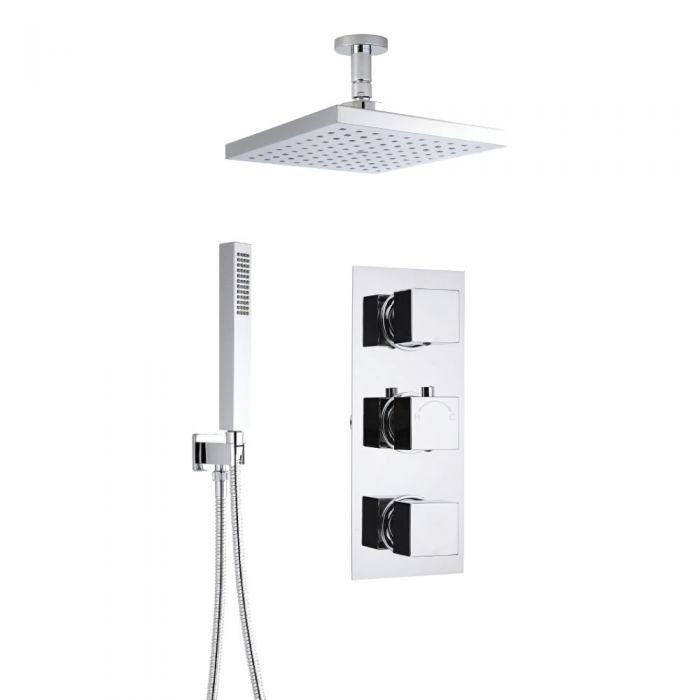 Milano Square Concealed Thermostatic Shower with Ceiling Mounted Head and Hand Shower