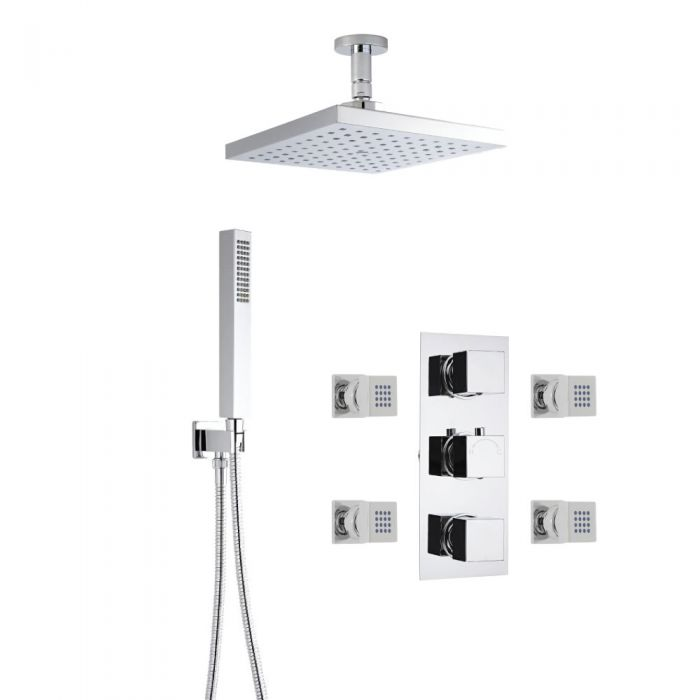 Milano Square Thermostatic Shower with Ceiling Mounted Head, Hand Shower and Body Jets