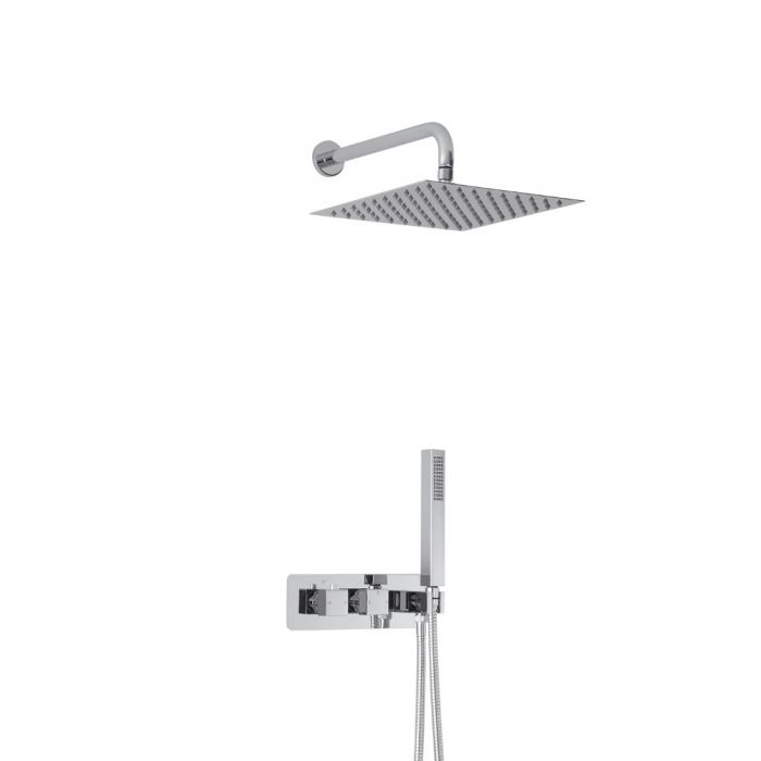 Milano Arvo Square Twin Diverter Thermostatic Shower Valve with Handset and 300mm Head