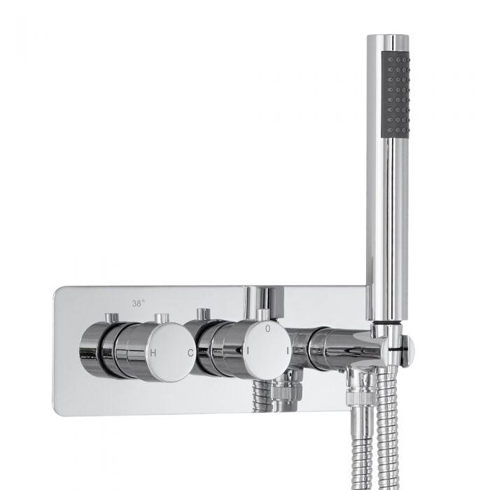 Milano Mirage Round Twin Diverter Thermostatic Shower Valve with Handset
