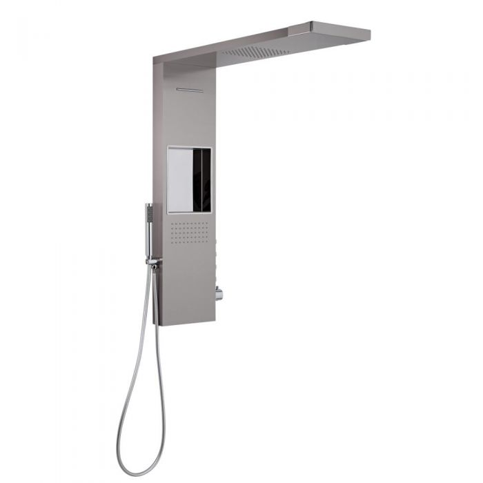 Milano Vaso - Glass Grabbing Shower Tower with Integrated Storage 1030x800mm - Brushed