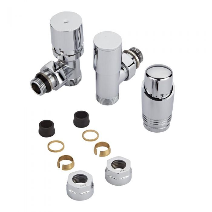 Milano Chrome 3/4'' Male Thread Valve with Chrome TRV & 16mm Copper Adaptors