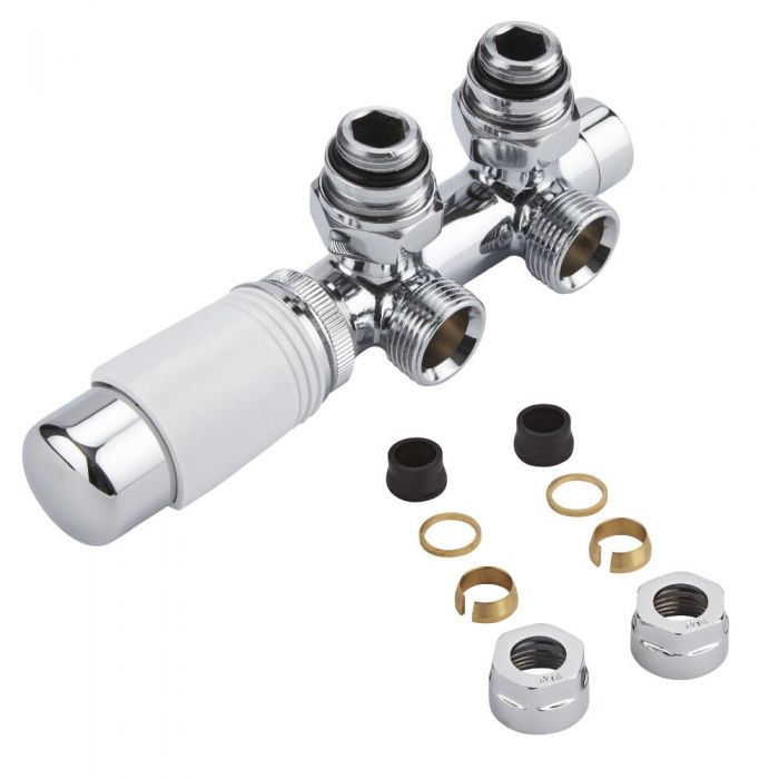 "Milano Chrome 3/4"" Male H Block Angled Valve with White TRV Head & 16mm Copper Adaptors"