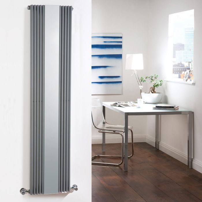 Milano Reflect - Anthracite Designer Radiator With Mirror 1600mm x 420mm