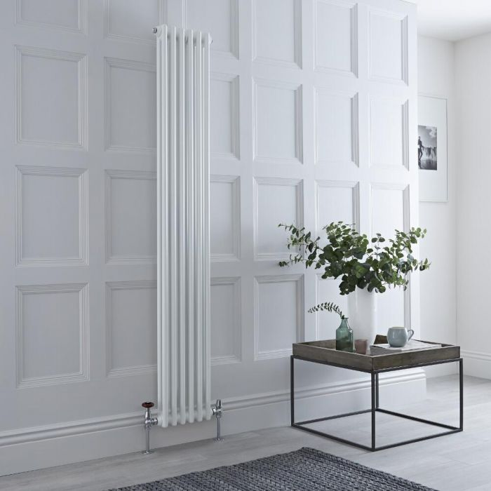 Milano Windsor - Traditional 6 x 2 Column Radiator Cast Iron Style White 1800mm x 290mm