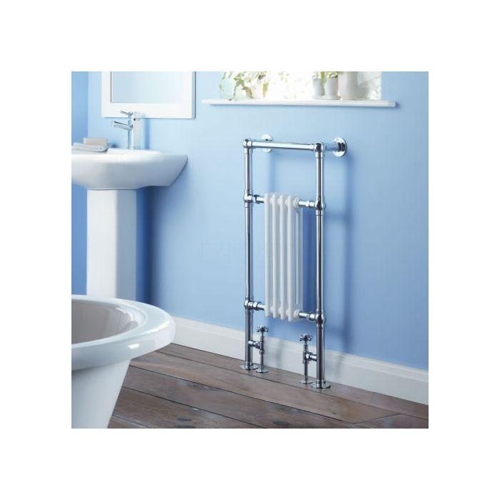 Milano Trent - Traditional Brass Heated Bathroom Towel Radiator Rail 930mm x 495mm