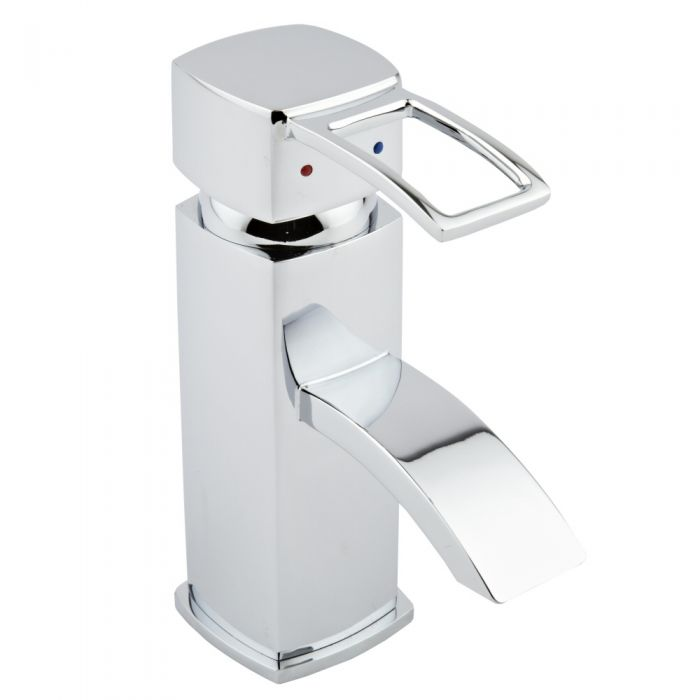 Milano Arc Mono Basin Tap with Push Button Basin Waste