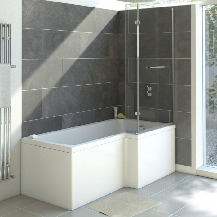 Milano 1700mm Square Shower Bath Right Hand