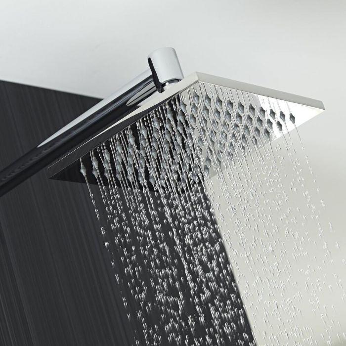 Milano 200mm Square Shower Head and Minimalist Arm