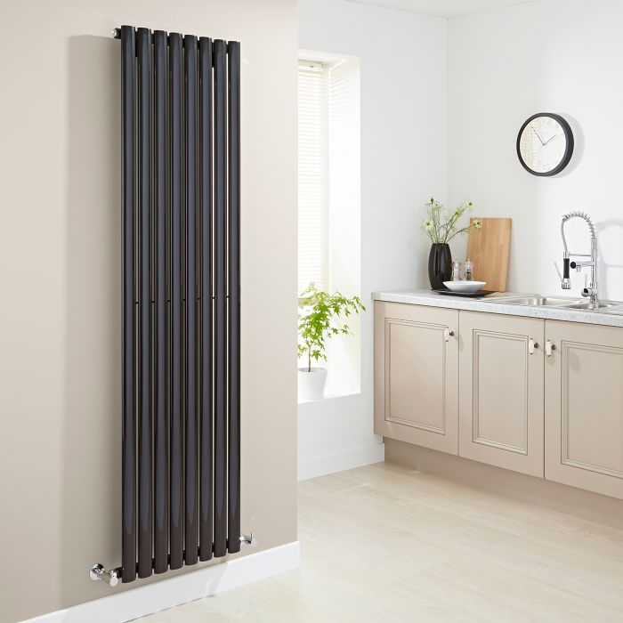 Milano Aruba - Luxury High Gloss Black Vertical Designer Radiator 1780mm x 472mm
