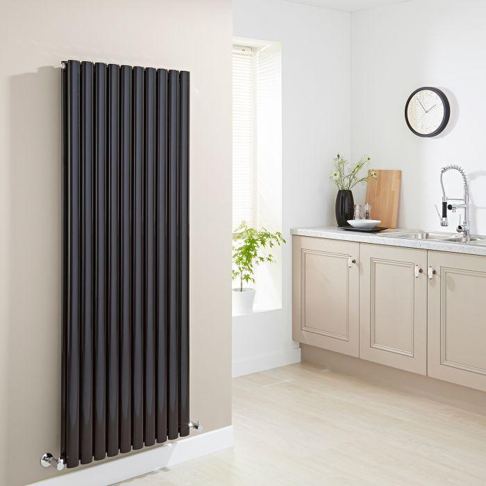 Milano Aruba - High-Gloss Black Vertical Designer Radiator 1600mm x 590mm (Double Panel)