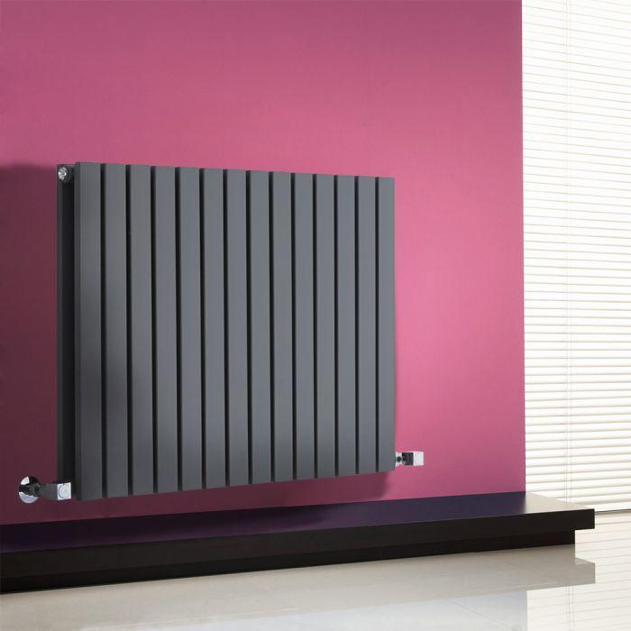 Milano Capri - Anthracite Horizontal Flat Panel Designer Radiator 635mm x 834mm (Double Panel)