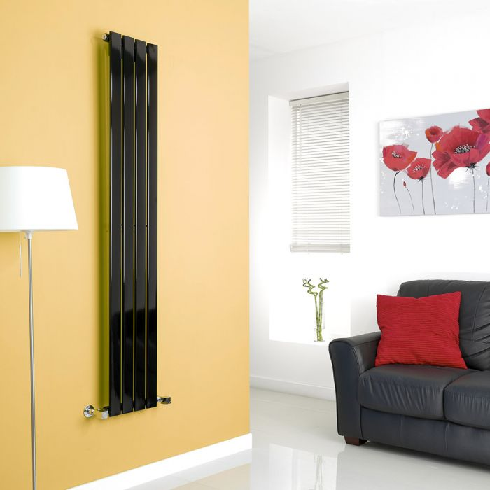 Milano High-Gloss Black Vertical Single Slim Panel Designer Radiator 1600mm x 280mm