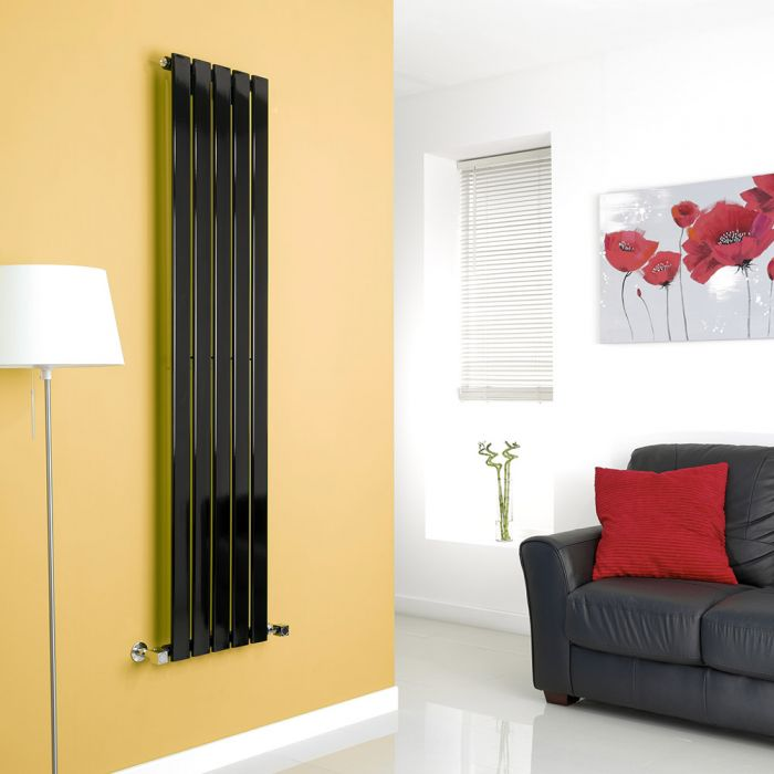 Milano High-Gloss Black Vertical Single Slim Panel Designer Radiator 1600mm x 350mm