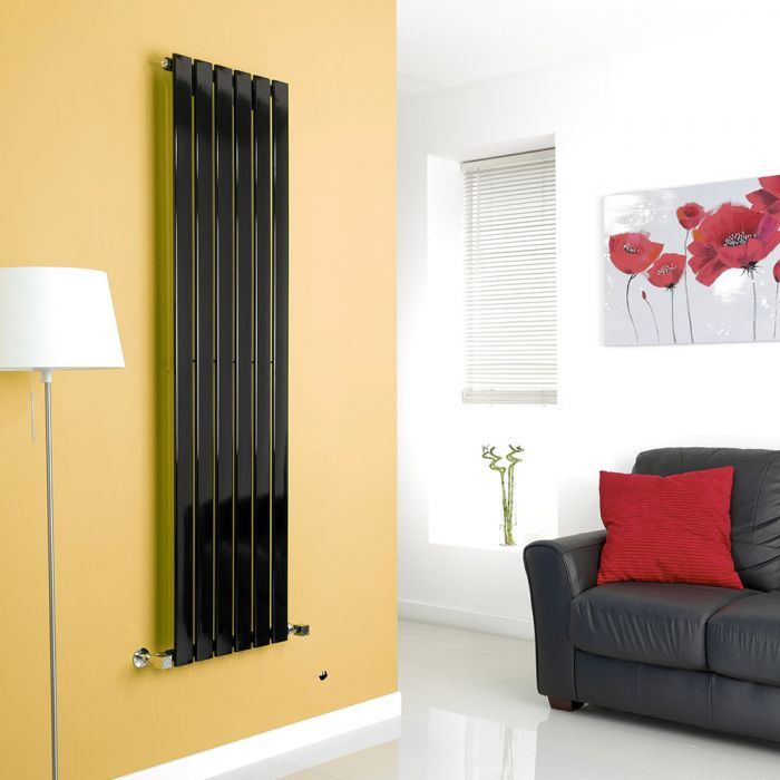 Milano High-Gloss Black Vertical Single Slim Panel Designer Radiator 1600mm x 420mm