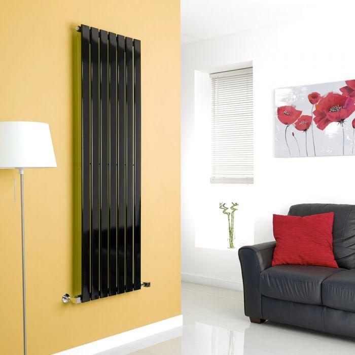 Milano High-Gloss Black Vertical Single Slim Panel Designer Radiator 1600mm x 490mm