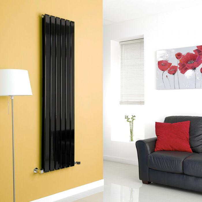 Milano High-Gloss Black Vertical Double Slim Panel Designer Radiator 1600mm x 420mm